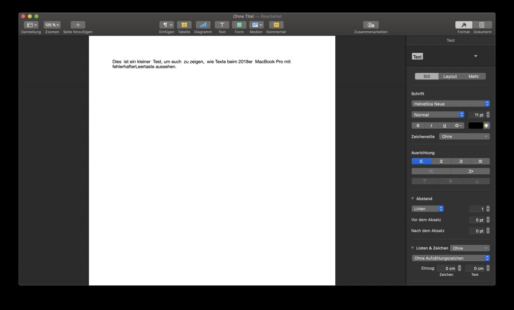 Ein Screenshot der Software Pages auf dem man sieht, dass der Text deutlich zu viele Leerzeichen zwischen einzelnen Wörtern enthält.